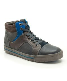 Blue Beven Boy Hi-Top Sneaker by Clarks - LEATHER