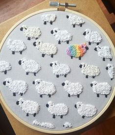 "artekka: "" In a field full of sheep… Be a ewe-nicorn! [Etsy] ""- artekka: "" In a field full of sheep… Be a ewe-nicorn! [Etsy] "" artekka: "" In a field full of sheep… Be a… - Simple Embroidery, Learn Embroidery, Hand Embroidery Stitches, Embroidery Hoop Art, Hand Embroidery Designs, Cross Stitch Embroidery, Embroidery Ideas, Hand Stitching, Ribbon Embroidery"
