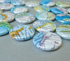5 recycled atlas map 1 inch pinback button badges by Marmalime, $4.00