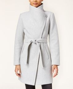 Jessica Simpson Faux-Leather-Trim Asymmetrical Belted Wrap Coat | macys.com