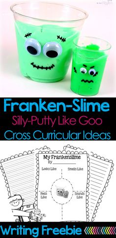 """Slime, goo, GAK, silly-putty….Whatever you call it, goo is fun! These """"Franken-Slime"""" cups are a great project to do with the kids. There's a writing freebie and ideas for cross-curricular integration too!"""
