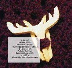 Pet Pins - Moose with Bonus Hummingbird Scrollsaw Plan Downloadable PDF  woodworking plan