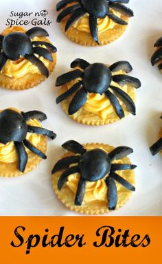 Spider Bites ~ fun Halloween appetizer or snack... These are easy to make and would be fun for the kiddos to help put together!
