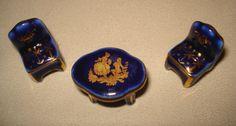 LIMOGES MINIATURE PORCELAIN TABLE & 2 CHAIR COBALT BLUE COURTING COUPLE & GOLD