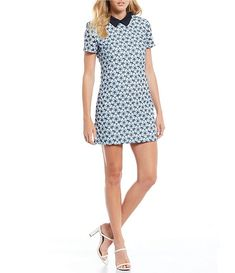 English Factory Floral Lace Contrast Collar Mini Shift Dress | Dillard's Lancome Gift With Purchase, Contrast Collar, Dillards, Floral Lace, Casual Pants, Shop Now, Short Sleeve Dresses, Street Style, Mini