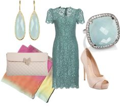 """""""aqua lace dress"""" by anfernee-131 ❤ liked on Polyvore"""