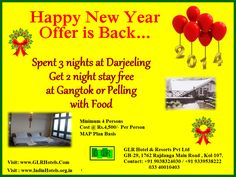 Spent 3 nights at darjeeling and gert 2 nights stay free at pelling or gangtok @Rs.4500/- min 4 persons