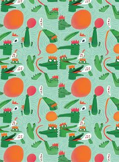 There's an obvious seam in this pattern, but I like the different crocs and water.