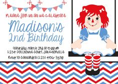 Shop for on Etsy, the place to express your creativity through the buying and selling of handmade and vintage goods. Boy Birthday Parties, Girl Birthday, Birthday Ideas, Birthday Cakes, Lauren Kate, Raggedy Ann And Andy, Printable Birthday Invitations, Nautical Baby, Party Time