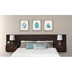 Brand New Prepac Series 9 Designer Floating Queen Headboard with Nightstands Home Bedroom Furniture Brown Floating Headboard, Modern Headboard, Headboards For Beds, Headboard Ideas, Cheap Diy Headboard, Storage Headboard, Painted Headboards, Wall Headboard, Make Your Own Headboard