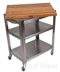 Chefs love our butcher block carts  http://chefdepot.net/kitchentables.htm