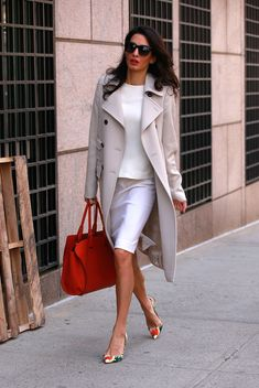 Amal Clooney. Black and white and a pop of red. I love creams and whites for Fall/Winter! #Fashion #Amal