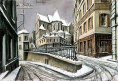 Bernard BUFFET ( 1928 - 1999 ) - Peintre Francais - French Painter Pontoise, l'église St-Maclou