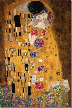 The Kiss, c.1907 (detail) Stretched Canvas Print by Gustav Klimt at Art.com