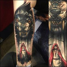 Benjamin Laukis, red riding hood and wolf tattoo oh my word...