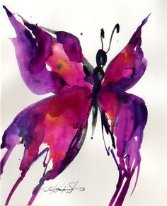 """Butterfly Watercolor painting, Abstract Pink, Purple, Black, Art, Original ooak painting """"Butterfly Song 33"""" by Kathy Morton Stanion EBSQ"""