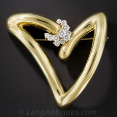 Large Diamond Contemporary Heart Brooch