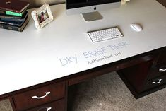 Dry Erase Painted Desk great for a home office or kids homework or virtual school area.