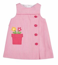 Florence Eiseman Girls Pink Ottoman Dress with Flower Pot Pocket