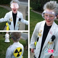 Inspiration & accessories for your DIY Mad Scientist halloween costume idea Mad Scientist Halloween Costume, Disfarces Halloween, Mad Scientist Party, Boy Costumes, Halloween Costumes For Kids, Halloween Dress, Costume Ideas, Science Costumes, Fantasias Halloween