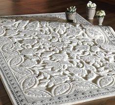 Sultan Halı Modelleri Kabartmalı Beyaz Halı örnekleri