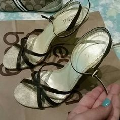 I just discovered this while shopping on Poshmark: BCBG wedged heel shoes. Check it out!  Size: 8