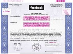 Image of Facebook's stock certificate