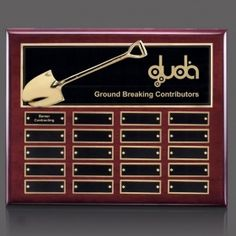 Promotional Products Ideas That Work: Shovel Perpetual Plaque - Rosewood 20 Plate. Get yours at www.luscangroup.com