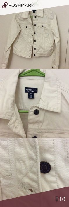 American Living white Denim Jacket American living white denim jacket bought from Macy. Worn once. Size S/P. Perfectly goes with summer dresses. ❎No Trade. ❤️❤️❤️ love to hear more questions american living Jackets & Coats Jean Jackets