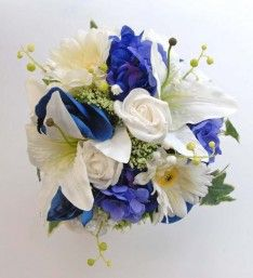 Blue Orchid & White Rose Bridesmaids Wedding Day Bouquet