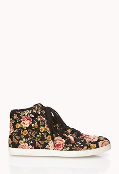Sweet Floral High Tops | FOREVER21 Floral sneaks #Sneakers #Shoes #LaceUp