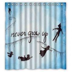 Peter Pan Fairy Never Grow Up Shower Curtain Bathroom Decor
