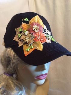 Black Baseball Cap  Decorated with A Collage of by paulinegould