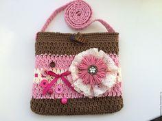 Купить Сумочка для девочки вязаная Розовое Безе - розовый, абстрактный, сумочка ручной работы