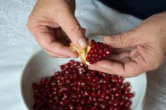 Christmas feta balls with pomegranate seeds