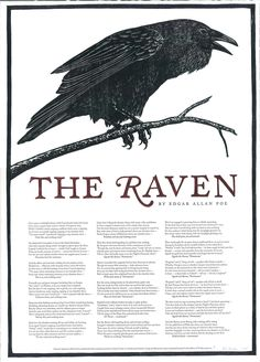 """""""The Raven"""" Woodcut Broadside - Broadside print featuring the entire text of """"The Raven"""" by Edgar Allan Poe. woodcut with letterpress text."""