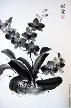 Купить Орхидеи в монохроме. Китайская живопись - черно-белый, китайская живопись, китайский стиль, гохуа