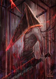 My tribute to Silent Hill's iconic Pyramid Head. Mixed parts of his designs throughout the games and films to make my own version with the things I liked the most Arte Horror, Horror Art, Silent Hill Art, Sunless Sea, Cry Of Fear, Pyramid Head, Creepy Pictures, Horror Films, King Of Fighters