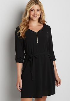 lightweight shirtdress with knit back | maurices