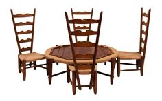 A vintage Mexican dining set-- The chairs are really an interesting shape.  Kind of like a Mexican Charles Rennie Mackintosh chair.