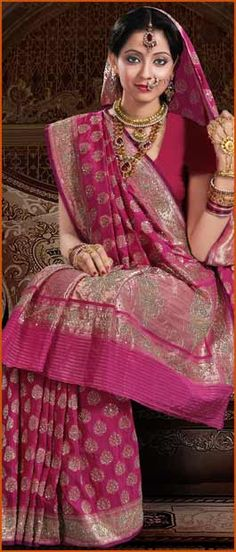 Dark #Pink Pure #Banarasi #Silk #Saree with #Blouse @ $555.19 | Shop Here: http://www.utsavfashion.com/store/sarees-large.aspx?icode=snn36