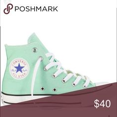 Converse high top sneakers color: Mint size: 8 Converse high top sneakers gently worn size:8 women or 6 in men. Great condition only worn once. Mint color super cute! ❤️✨ Converse Shoes Sneakers