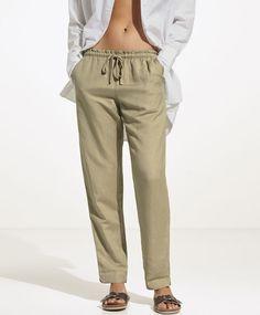 Pantalón lino - Última Semana - 25.99€ - Pantalón largo de lino. Cintura elástica con cordón ajustable - Tendencias primavera verano 2017 en Oysho online.