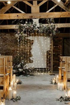 Rustic wedding heaven at Woolas Barn in Yorkshire! We loe the floral arch, fairy. Rustic wedding heaven at Woolas Barn in Yorkshire! We loe the floral arch, fairy light backdrop, candle aisle decoration. Summer Wedding Venues, Indoor Wedding Ceremonies, Wedding Ceremony Backdrop, Rustic Wedding Venues, Wedding Ideas, Barn Weddings, Country Weddings, Unique Weddings, Elopement Reception