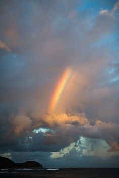Rainbow in Hawaii of the Island of Oahu. When I was there, I got to see multiple rainbows in the sky - some almost over-lapping one another - breathtaking!