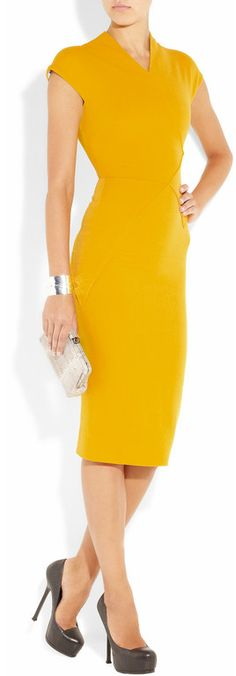 Victoria Beckham 100 Silk and Woolblend Doublecrepe Dress in Yellow