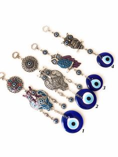 Your place to buy and sell all things handmade Evil Eye Jewelry, Evil Eye Bracelet, Owl Charms, Evil Eye Pendant, Evil Eye Charm, Plastic Jewelry, Animal Decor, Hamsa Hand, Cute Jewelry