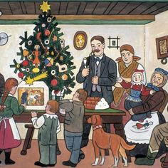 Looking back at Christmas - Josef Lada Christmas Village Exhibition in Prague Christmas Cave, Christmas Illustration, Illustration Art, Naive Art, Vintage Christmas Cards, Christmas Greetings, Winter Theme, Favorite Holiday, Prague