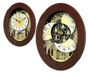 Rhythm 30 Melodies Musical Motion Wall Clock Including Holiday Melodies & Wooden Case