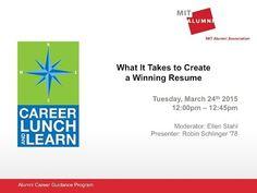MIT Alumni Association's Career Lunch & Learn Webinar Series:  Recorded Versions
